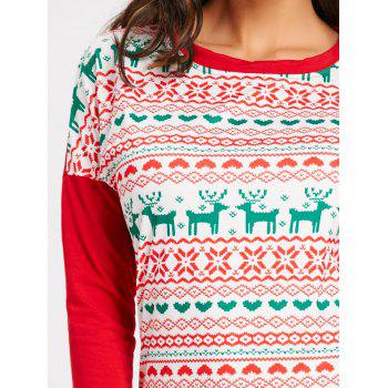 Christmas Snowflake Elk Long Sleeve Mini Dress - RED S