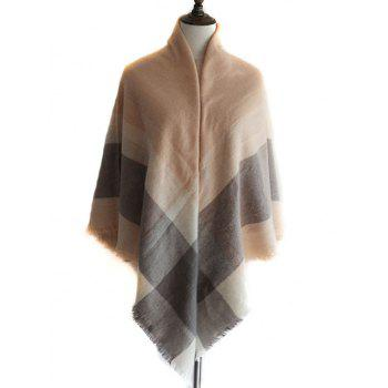 Checked Pattern Faux Wool Shawl Scarf - LIGHT COFFEE