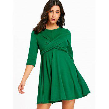 Mini Empire Waist Cross Swing Dress - GREEN S