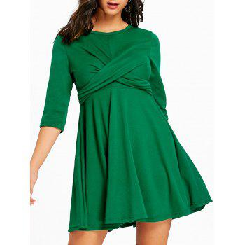Mini Empire Waist Cross Swing Dress - GREEN GREEN
