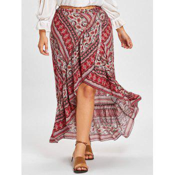 Bohemian Ruffle Plus Size Wrap Skirt - RED RED