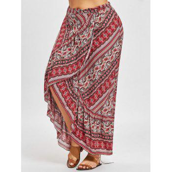 Bohemian Ruffle Plus Size Wrap Jupe - Rouge ONE SIZE