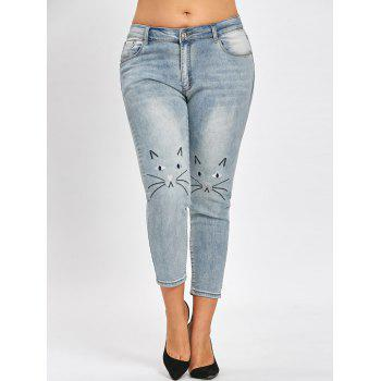 Plus Size Cat Face Embroidered  Light Wash Jeans - BLUE GRAY BLUE GRAY