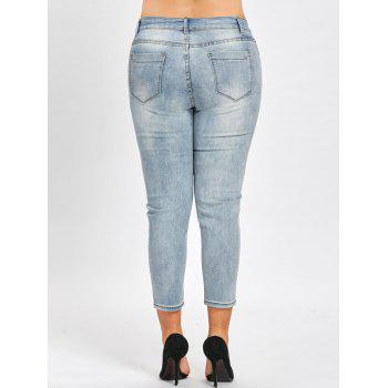 Plus Size Cat Face Embroidered  Light Wash Jeans - BLUE GRAY 4XL