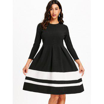 Striped Fit and Flare Knee Length Dress - BLACK S