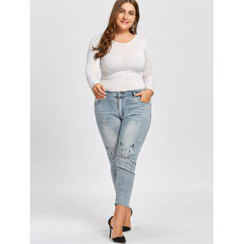 Plus Size Cat Face Embroidered  Light Wash Jeans - BLUE GRAY 5XL