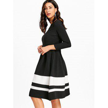 Striped Fit and Flare Knee Length Dress - BLACK M