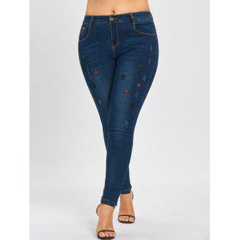 Plus Size Ripped Lips Embroidered Jeans - DENIM BLUE DENIM BLUE