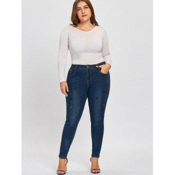 Plus Size Ripped Lips Embroidered Jeans - DENIM BLUE 5XL