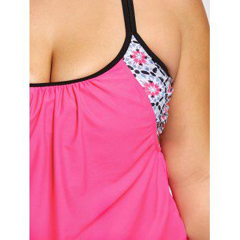 Cross Back Plus Size Printed Blouson Swimsuit - ROSE RED ROSE RED