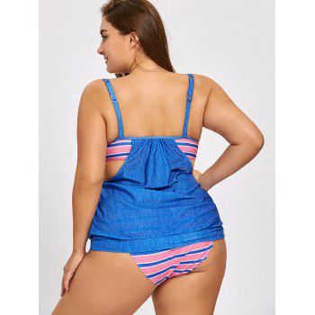 Striped Panel Plus Size Blouson Swimsuit - BLUE BLUE