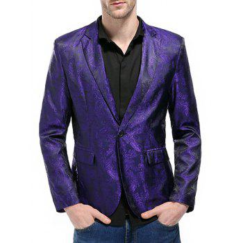 Florals Jacquard One Button Blazer - Pourpre XL