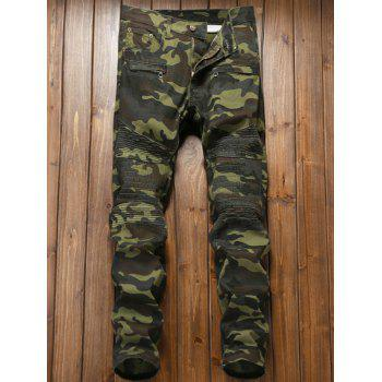 Camouflage Zipper Fly Pleat Cargo Pants - DIGITAL CAMOUFLAGE DIGITAL CAMOUFLAGE