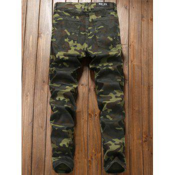 Camouflage Zipper Fly Pleat Cargo Pants - DIGITAL CAMOUFLAGE 38