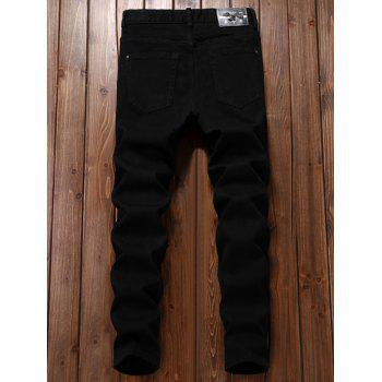 Applique Straight Leg Ripped Pants - BLACK 30