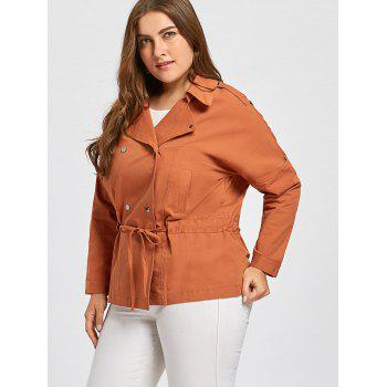 Plus Size Drawstring Double Breasted  Peplum Jacket - APRICOT APRICOT