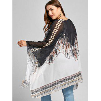Plus Size Open Front Feather Print Poncho Coat - COLORMIX ONE SIZE