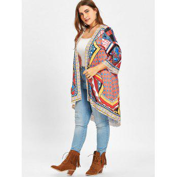 High Low Ethnic Geometric Plus Size Duster Coat - COLORMIX COLORMIX