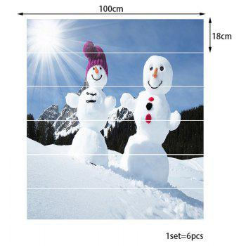 Sunshine Snowmen Couple Patterned Stair Stickers - WHITE/BLUE 100*18CM*6PCS