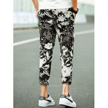 Flower Print Cotton Linen Blended Casual Pants - COLORMIX 3XL