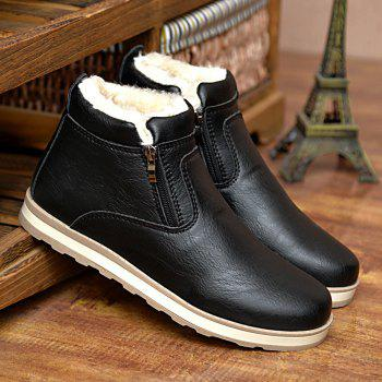 PU Leather Zip Stitching Ankle Boots - BLACK 44