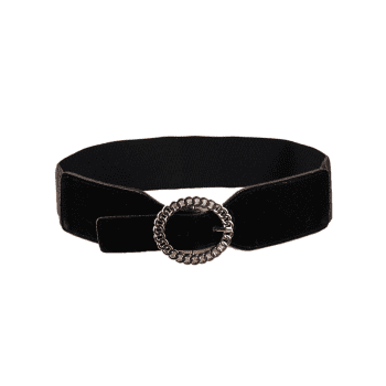 Hollow Out Round Shape Embellished Buckle Elastic Waist Belt - BLACK