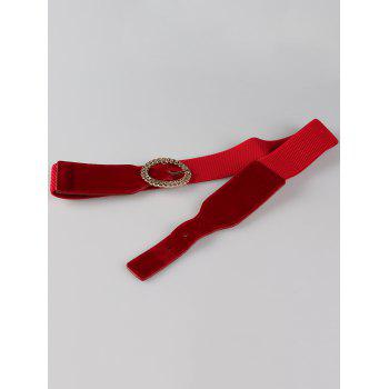 Hollow Out Round Shape Embellished Buckle Elastic Waist Belt - RED