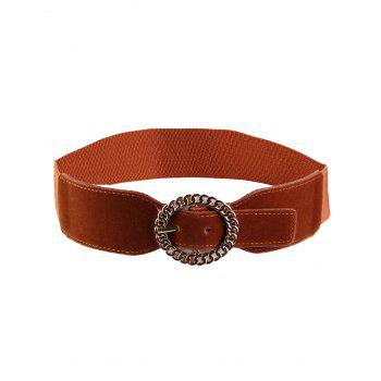 Hollow Out Round Shape Embellished Buckle Elastic Waist Belt - CHOCOLATE CHOCOLATE