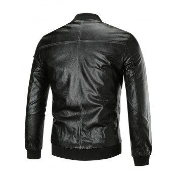 Zip Up Bomber Faux Veste en cuir - Noir 3XL