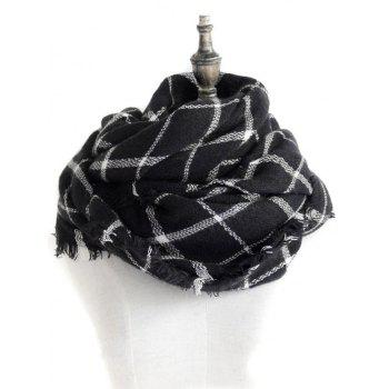 Checkered Pattern Decorated  Fringed Shawl Scarf - BLACK