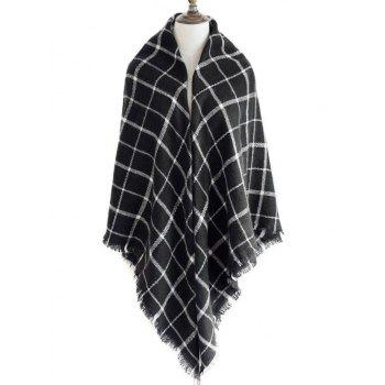 Checkered Pattern Decorated  Fringed Shawl Scarf - BLACK BLACK