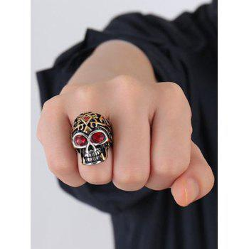 Cool Stainless Steel Rhinestone Skull Finger Ring - GOLDEN 10