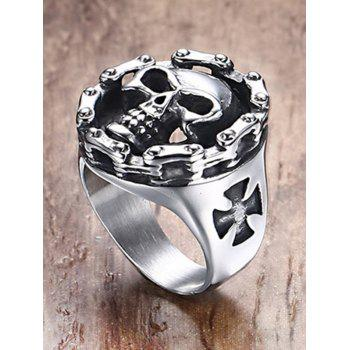 Stainless Steel Engraved Skull Crucifix Ring - SILVER 11