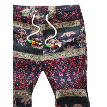Retro Ethnic Style Flower Pattern Linen Pants - COLORMIX COLORMIX