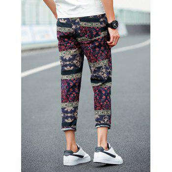 Retro Ethnic Style Flower Pattern Linen Pants - COLORMIX 2XL