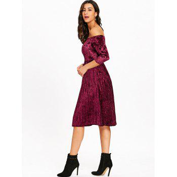 Off The Shoulder Velvet Robe plissée - Rouge vineux XL