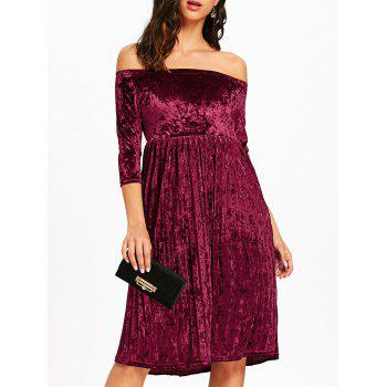 Off The Shoulder Velvet Pleated Dress - WINE RED WINE RED