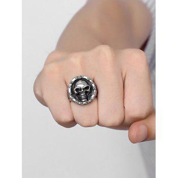 Stainless Steel Engraved Skull Crucifix Ring - SILVER SILVER