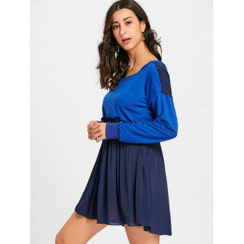 Hooded Long Sleeve Pleated Dress - ROYAL M
