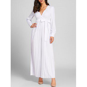 Surplice Neck Pleated Warp Maxi Dress - WHITE WHITE