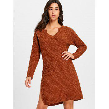 High Slit V Neck Argyle Sweater Dress - DARK AUBURN ONE SIZE