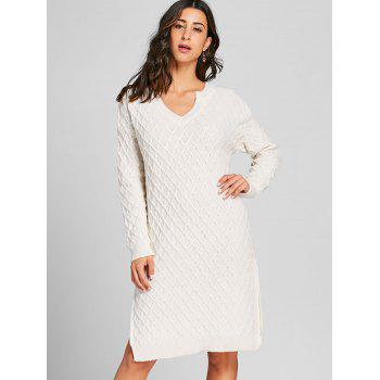High Slit V Neck Argyle Sweater Dress - WHITE WHITE