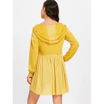 Hooded Long Sleeve Pleated Dress - GINGER XL
