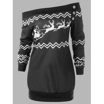 Plus Size Pullover Zigzag Deer Skew Neck Christmas Sweatshirt - BLACK BLACK