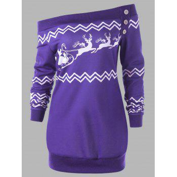 Plus Size Pullover Zigzag Deer Skew Neck Christmas Sweatshirt - PURPLE PURPLE