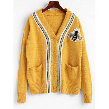 Button Up Plus Size Bee Patched Cardigan - YELLOW YELLOW