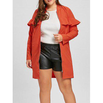 Zip Up Plus Size Ruffle Trench Coat - JACINTH JACINTH