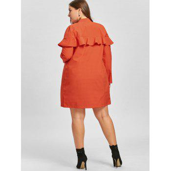 Zip Up Plus Size Ruffle Trench Coat - JACINTH 3XL