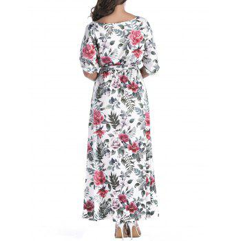 Belted Floral Print Batwing Sleeve Maxi Dress - GRAY XL