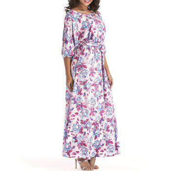 Belted Floral Print Batwing Sleeve Maxi Dress - PURPLE 2XL